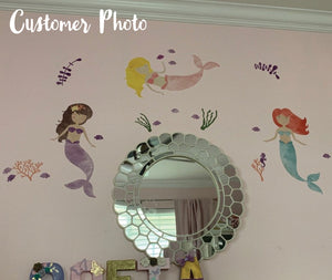 Mermaid Wall Decals - Watercolor Glitter Mermaids