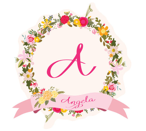 Wreath Name and Monogram Wall Decal