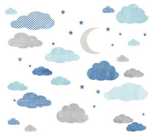 Cloud, Moon and Stars Watercolor Patterned Fabric Wall Decals
