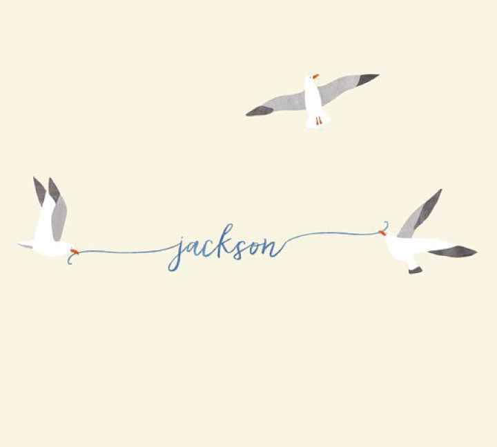 Seagulls and Custom Name Fabric Wall Decals - Watercolor