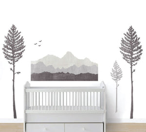 Mountain Fabric Wall Decals - Mountain and Pine Tree Watercolor Decals