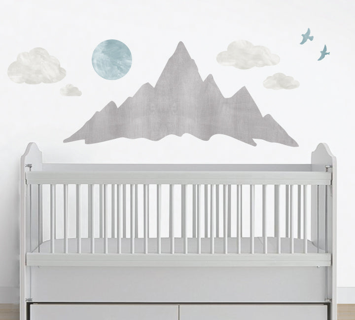 Mountain Wall Decals - Mountainscape Watercolor Decals