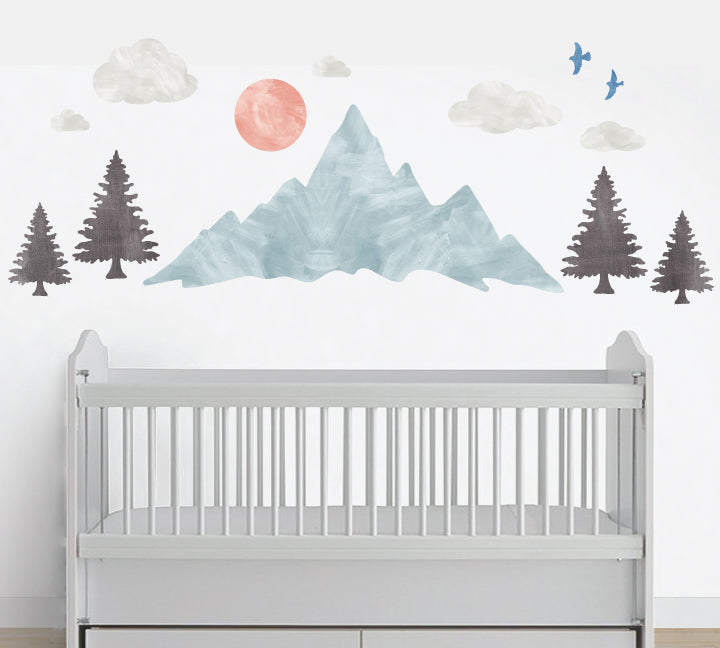 Mountain Wall Decals with Trees