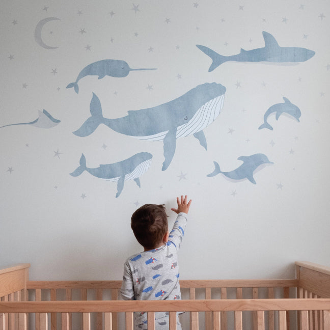 Nautical Sky - Whale Fabric Wall Decals