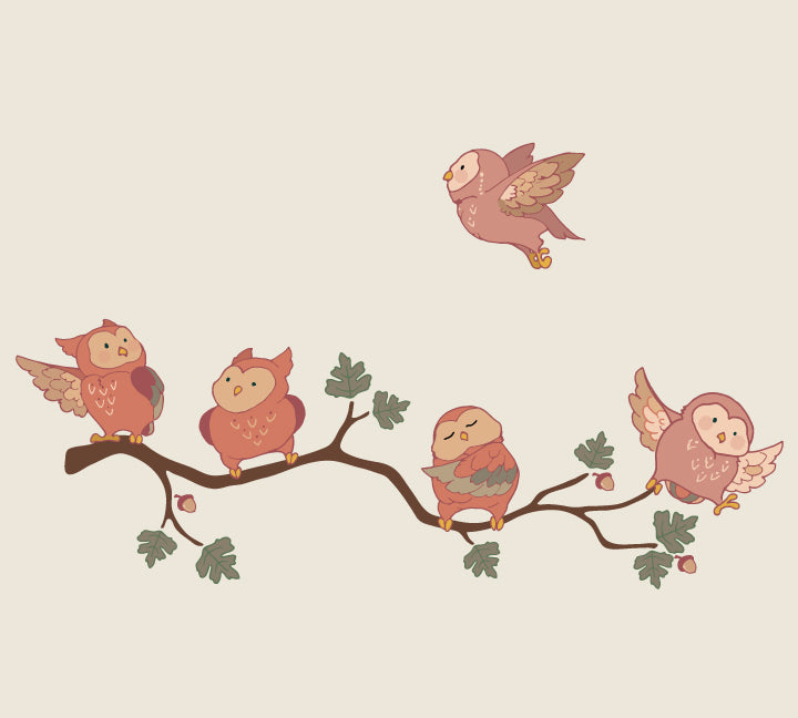Owl Wall Decals - Vintage Fabric Owl and Branch Decal