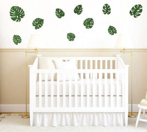 Palm Leaf Fabric Wall Decals - Palm Leaves Watercolor Decals