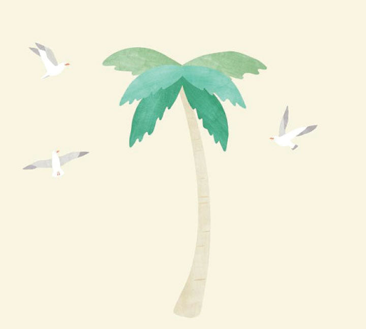 Palm Tree Fabric Wall Decals - Name Watercolor Decals
