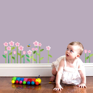 Pink Flowers Fabric Wall Decal