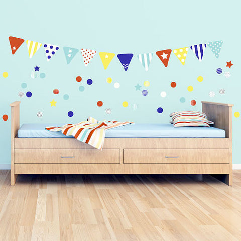 Bunting Wall Decals Confetti Fabric Wall Decals