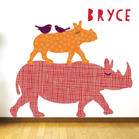 Jungle Fabric Wall Decals Custom Rhino