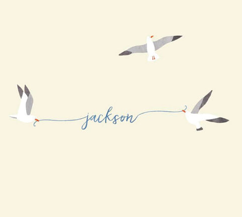 Name Fabric Wall Decals - Seagull Watercolor Decals