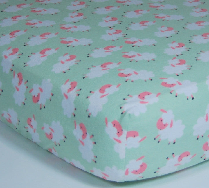 Sheep Crib Sheet - Cotton Flannel Crib/Toddler Sheet