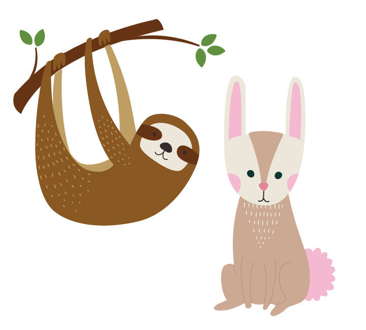 Sloth, Bunny and Branch Wall Decal