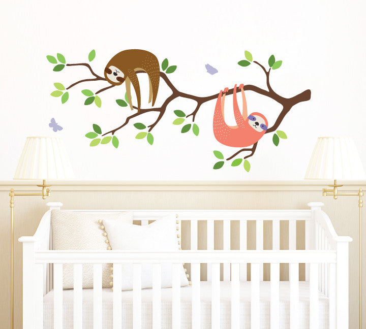 Branch and Sloth Wall Decal, Sloth and Branch Fabric Wall Decal