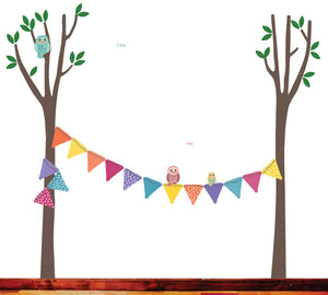 Trees and Bunting Fabric Wall Decal