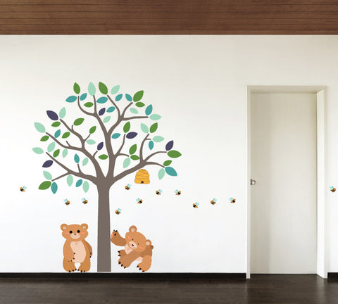 Tree and Bear Fabric Wall Decals - Custom Colors