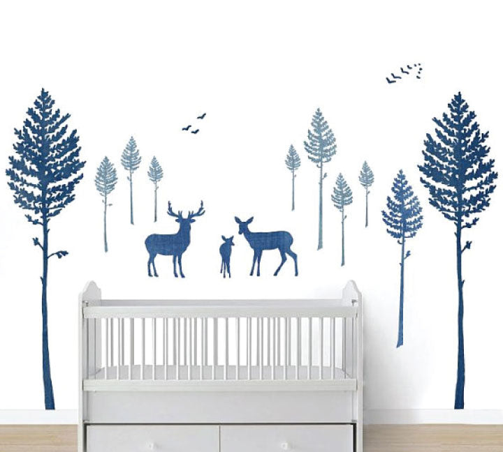 Tree Fabric Wall Decals - Deer and Pine Tree Watercolor Decals