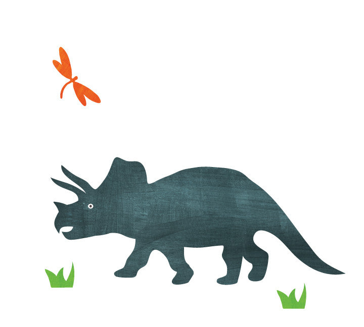 Dinosaur Wall Decals - Triceratops Fabric Wall Decals Large