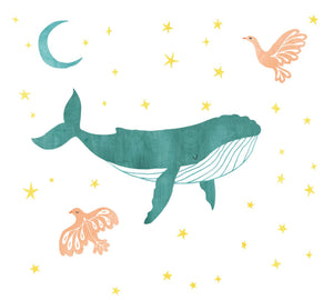 Nautical Sky - Whale and Bird Fabric Wall Decals