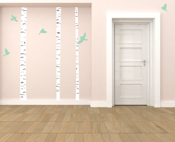 BirchTree and Birds Fabric Wall Decals