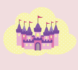 Castle Wall Decal - Castle on Cloud Fabric Wall Decal