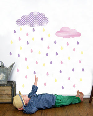 Clouds and Rain Fabric Wall Decals