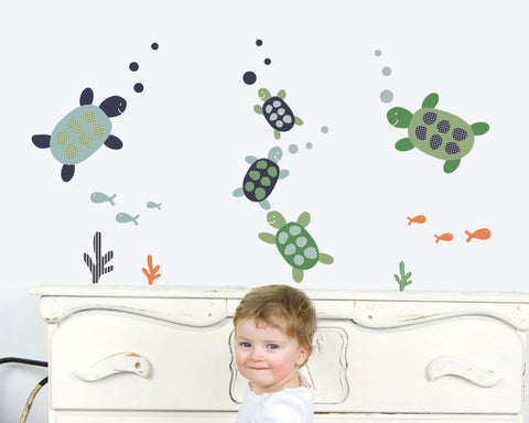Turtle Family Fabric Wall Decals For Your Nursery