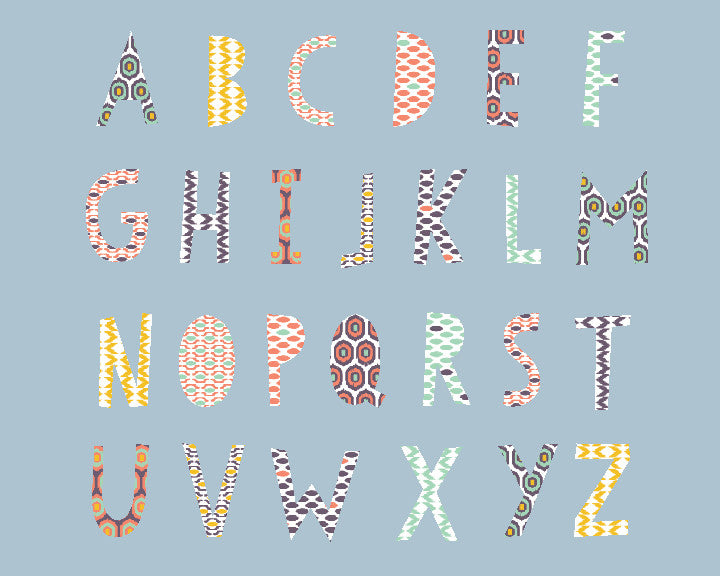 Ikat Alphabet Wall Decals 2