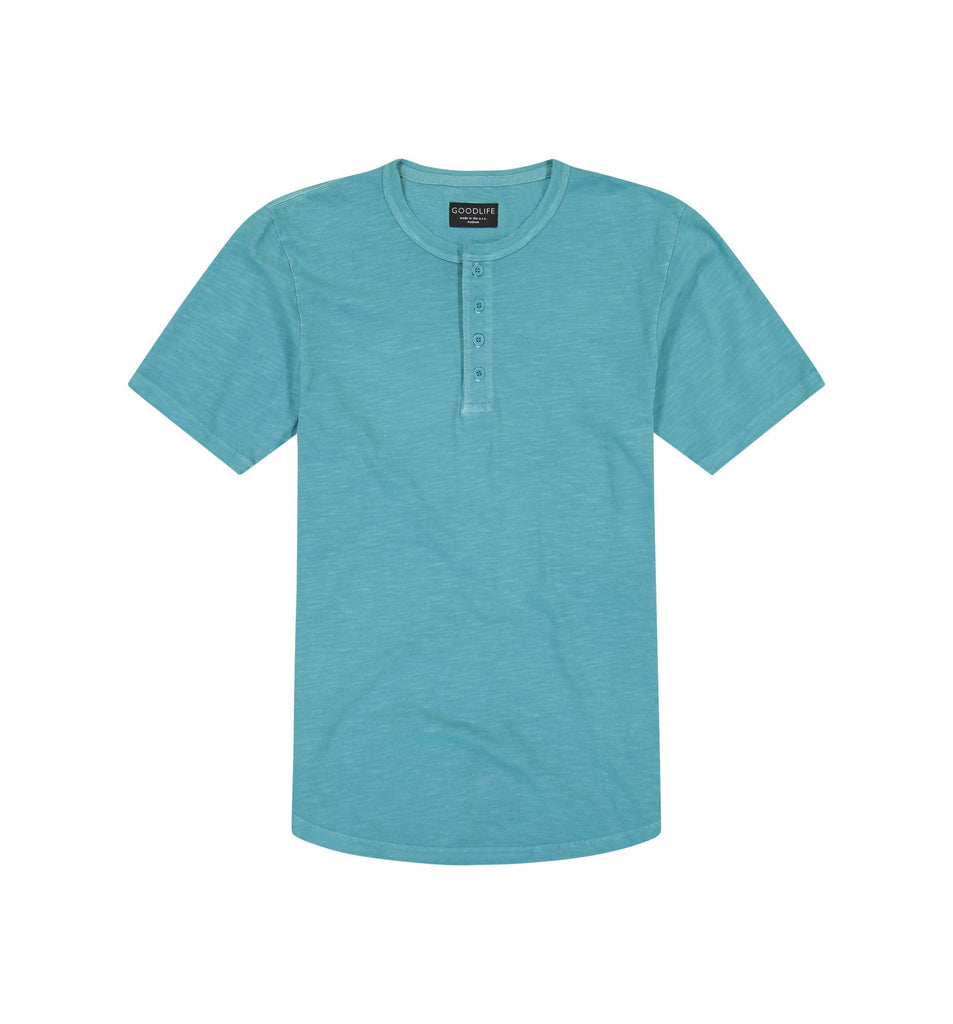 Sun-Faded Slub Scallop Henley | Enamel Blue