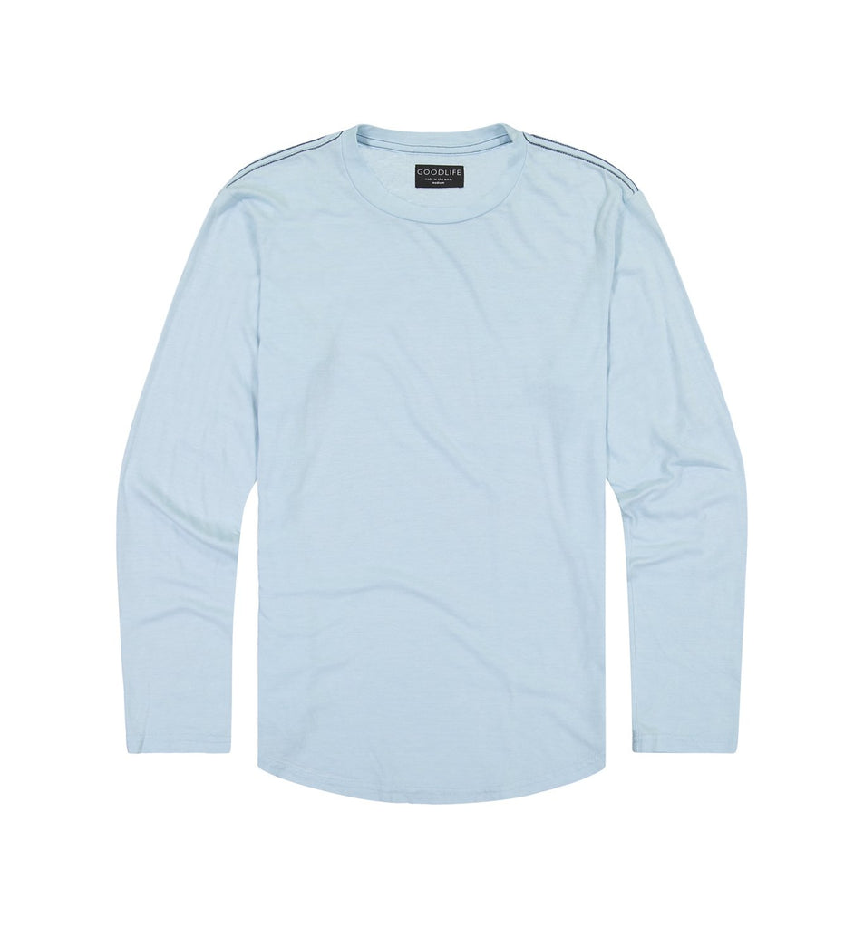 Tri-Blend L/S Scallop Crew | Cool Blue