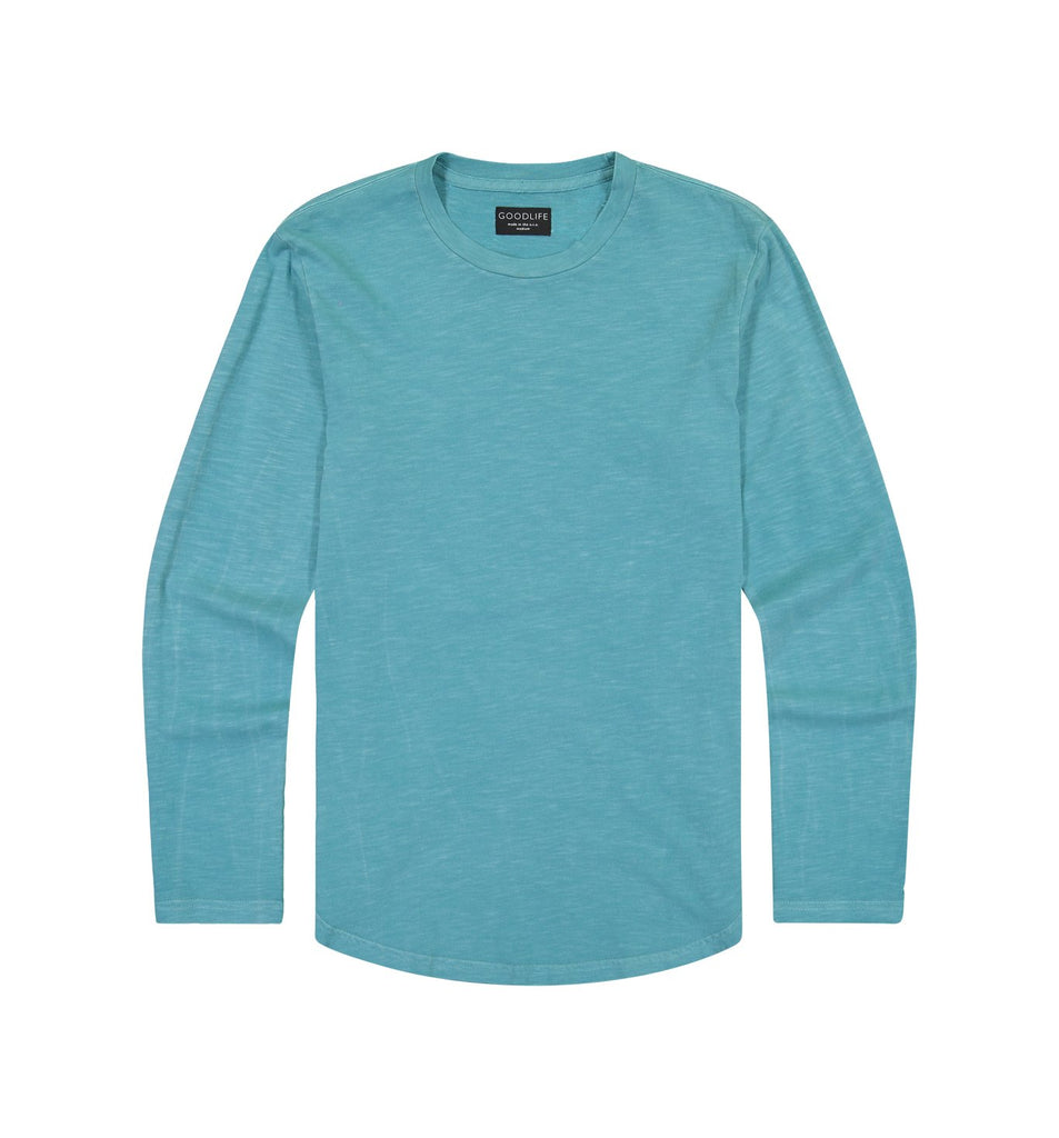 Sun-Faded Slub L/S Scallop Crew | Enamel Blue