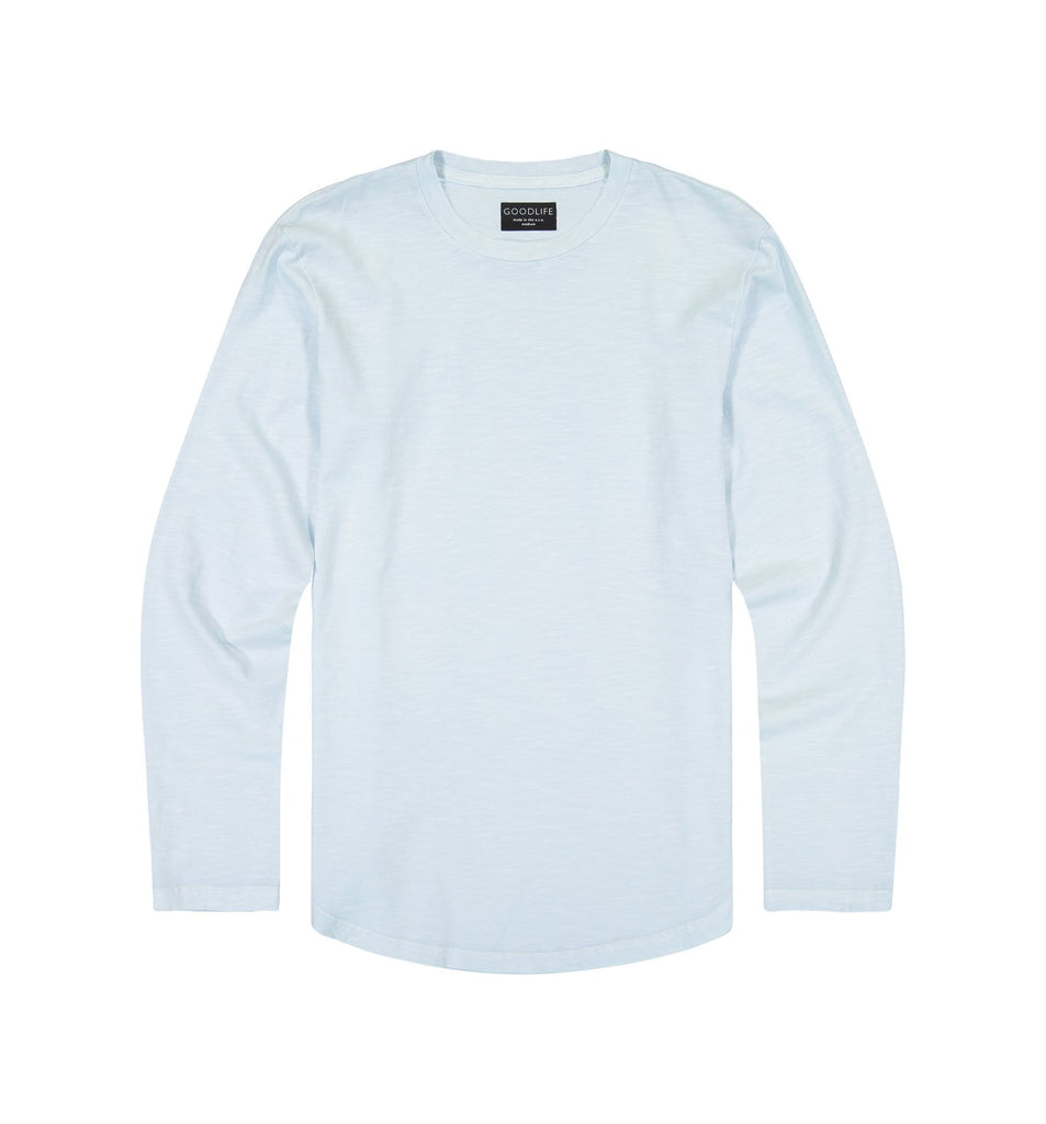 Sun-Faded Slub L/S Scallop Crew | Cool Blue