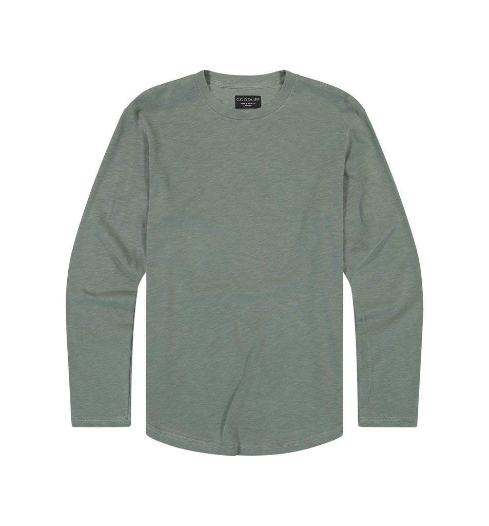 Sun-Faded Slub L/S Scallop Crew | Laurel