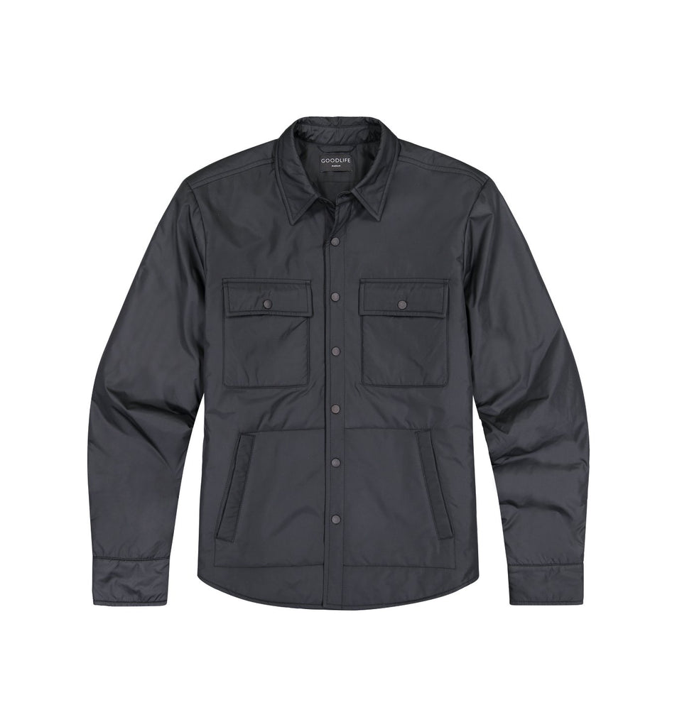 Packable Nylon Shirt Jacket | Black
