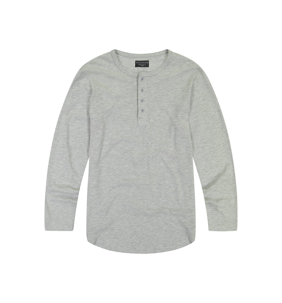 Slub L/S Scallop Henley | Lt. Heather Grey