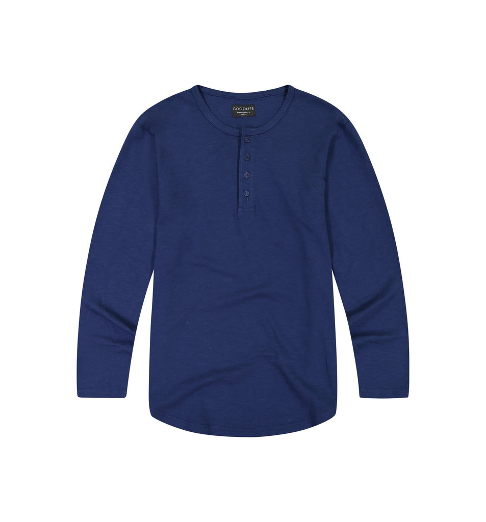 Slub L/S Scallop Henley | Goodlife Navy
