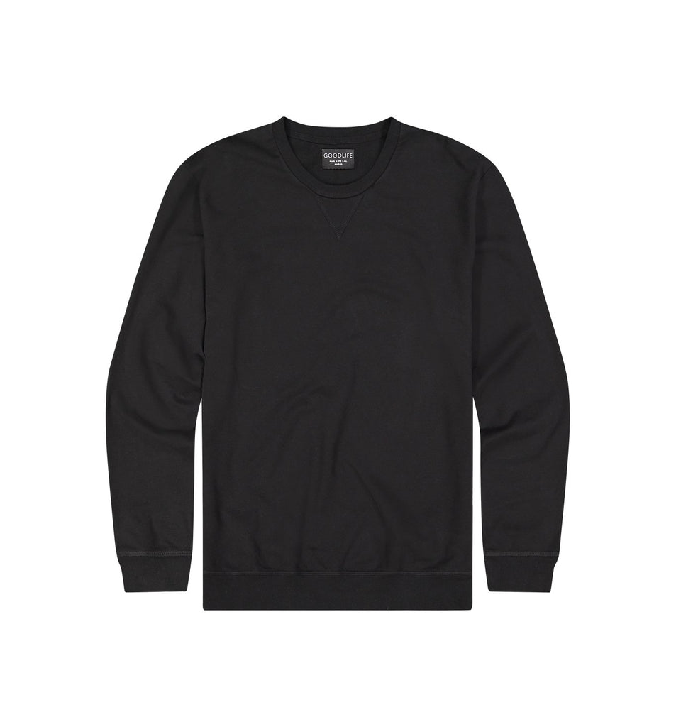 Micro Terry Crew Sweatshirt | Black