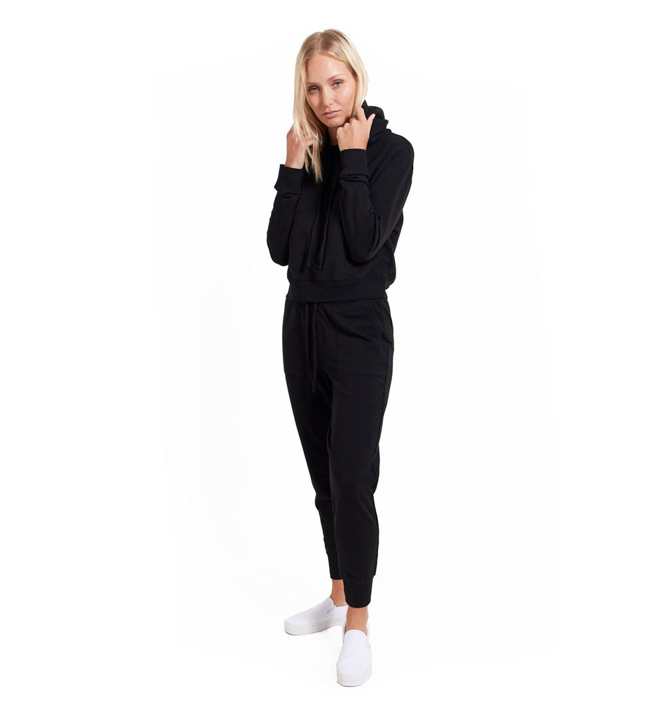 Micro Terry Cropped Hoody | Black