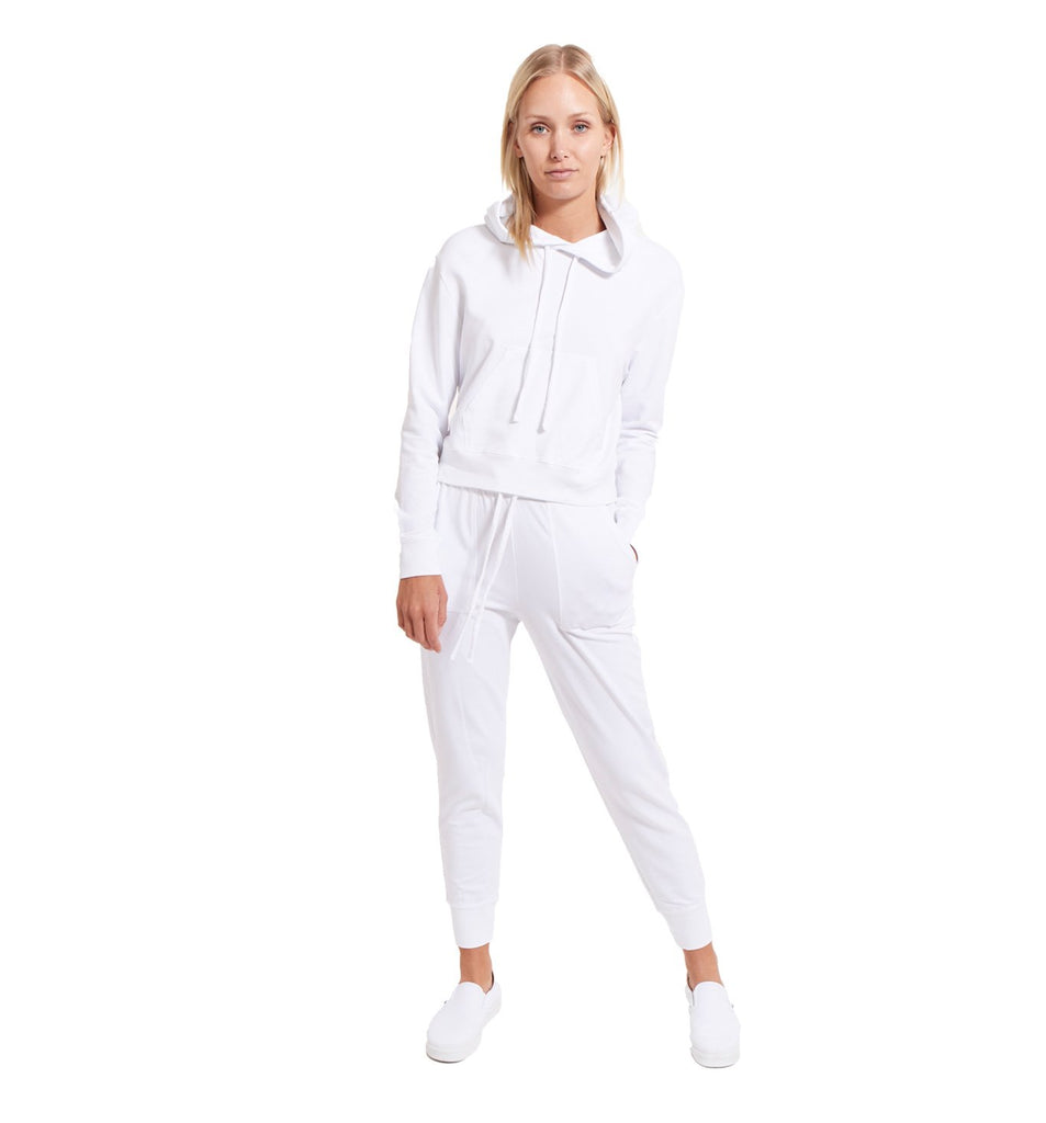 Micro Terry Cropped Hoody | White