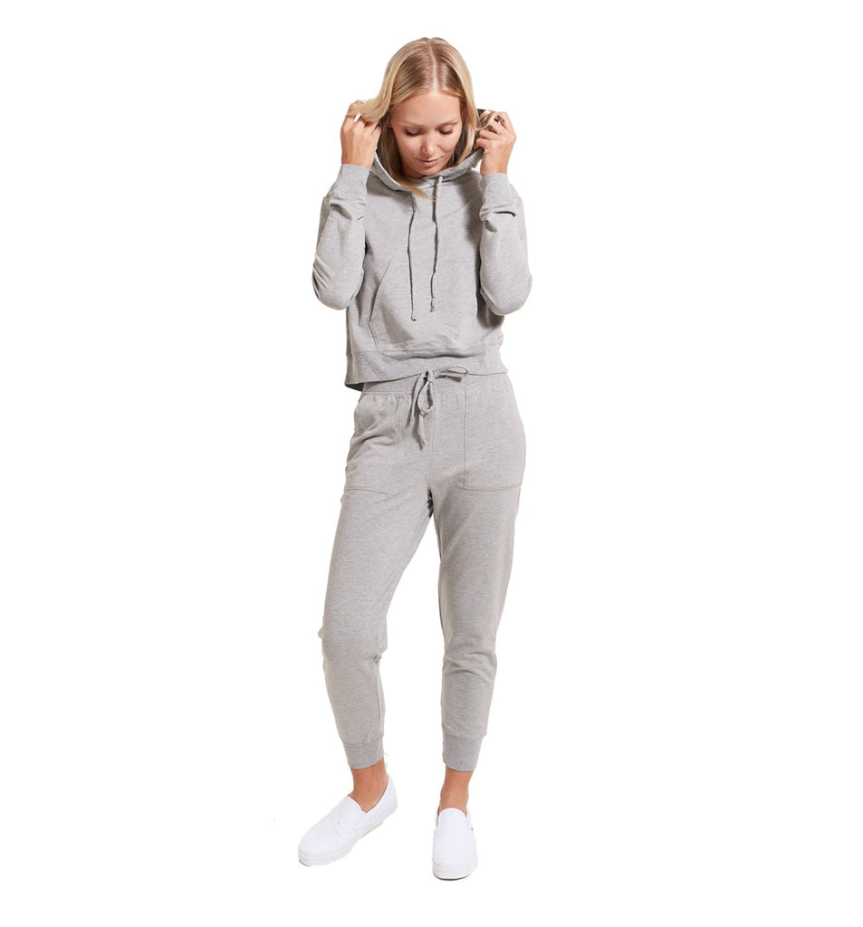 Micro Terry Cropped Hoody | Lt. Heather Grey