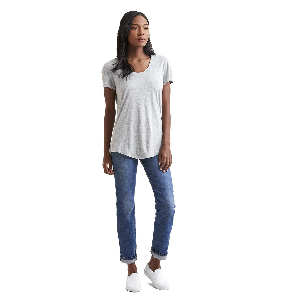 Supima Scallop U Neck | Lt. Heather Grey