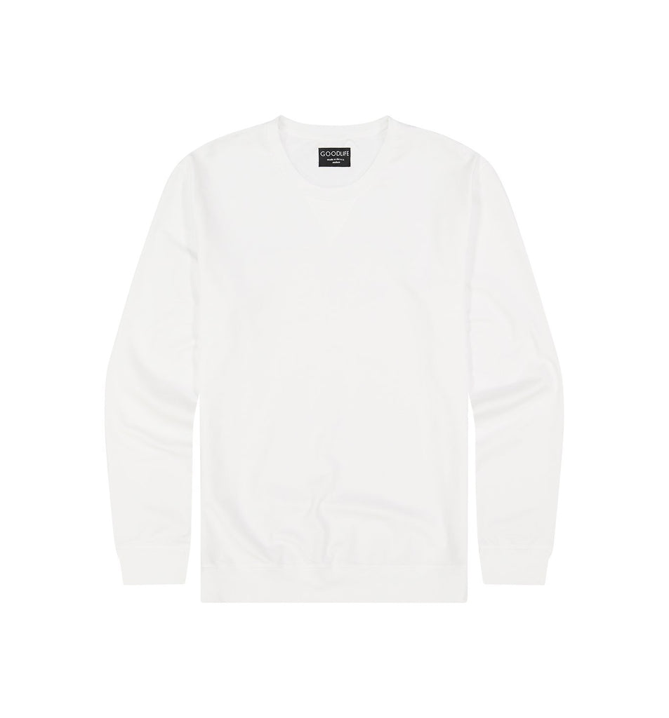 Micro Terry Crew Sweatshirt | White