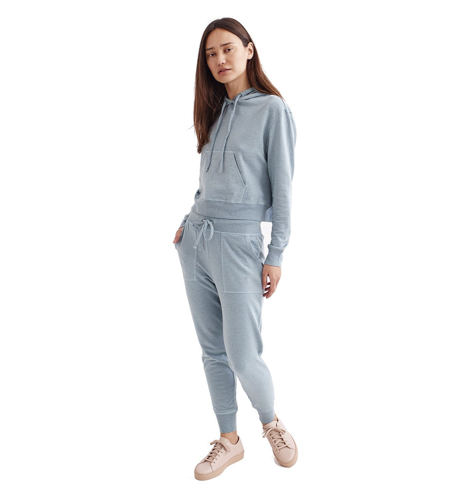 Overdyed Micro Terry Cropped Hoody | Cameo Blue