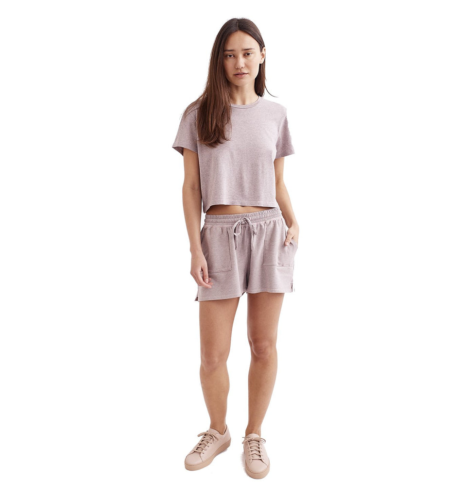 Overdyed Supima Cropped Crew | Pale Mauve
