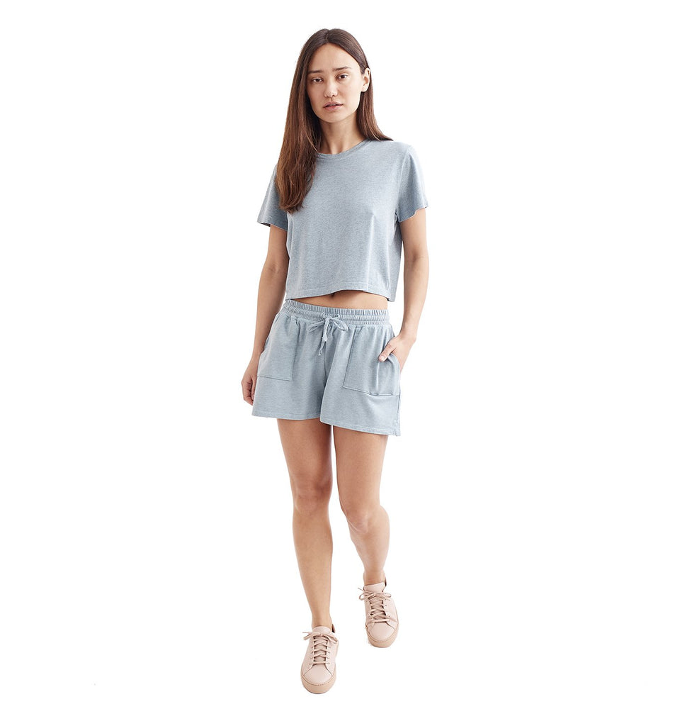 Overdyed Supima Cropped Crew | Cameo Blue