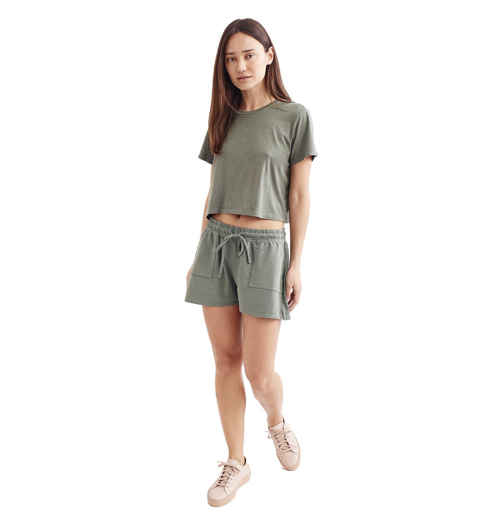Overdyed Supima Cropped Crew | Laurel