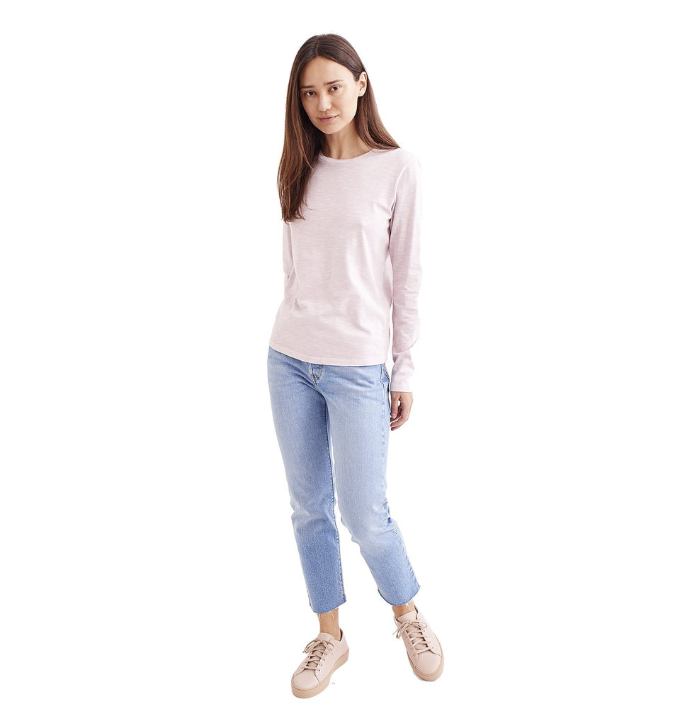 Sun-Faded Slub L/S Everyday Crew | Pale Mauve