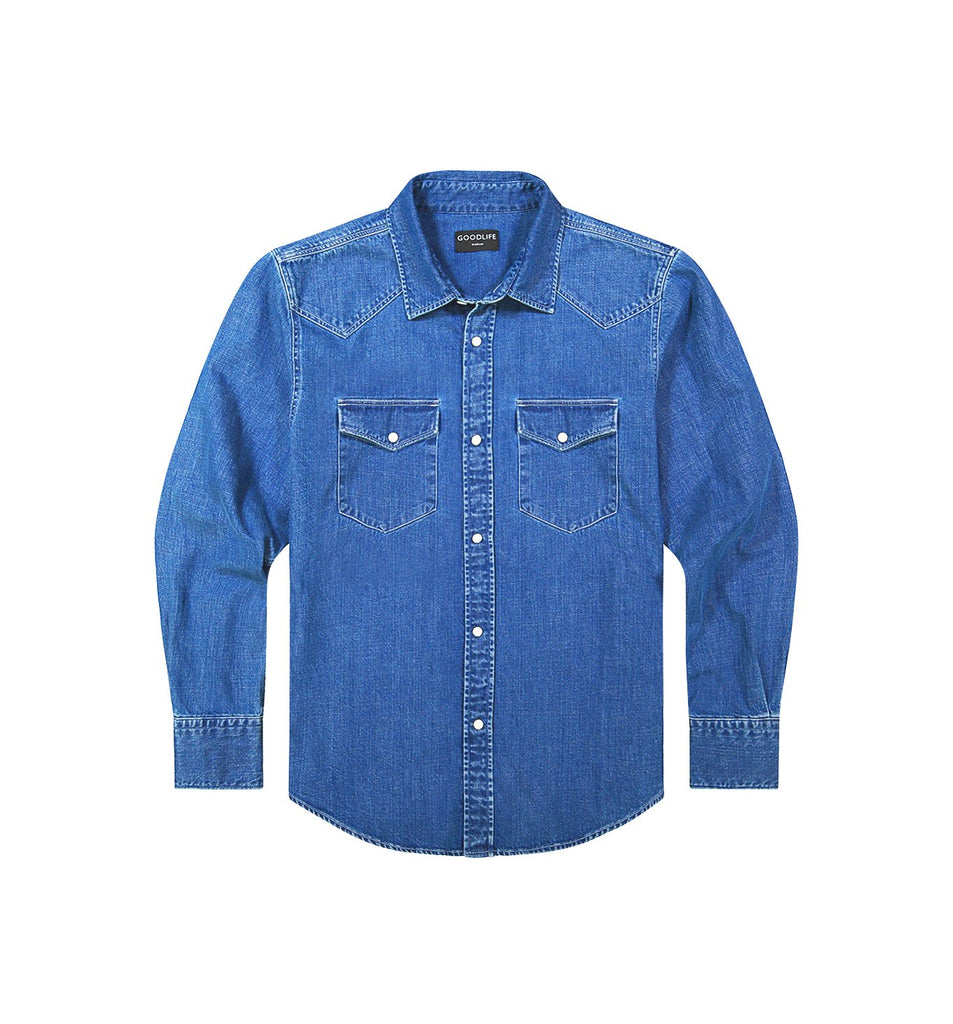 Denim Snap Shirt | Medium Indigo