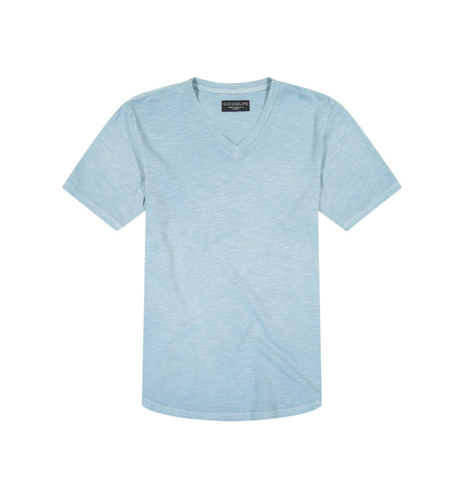 Sun-Faded Slub Scallop V | Cameo Blue