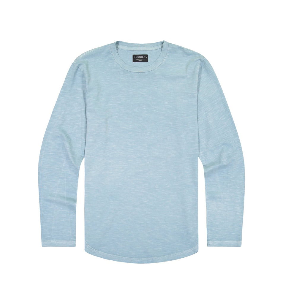 Sun-Faded Slub L/S Scallop Crew | Cameo Blue